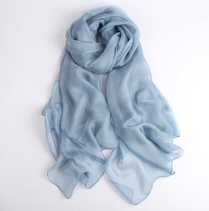 Large Silk Scarf Blue - Vshine Silk and Shine Fashion Accessories