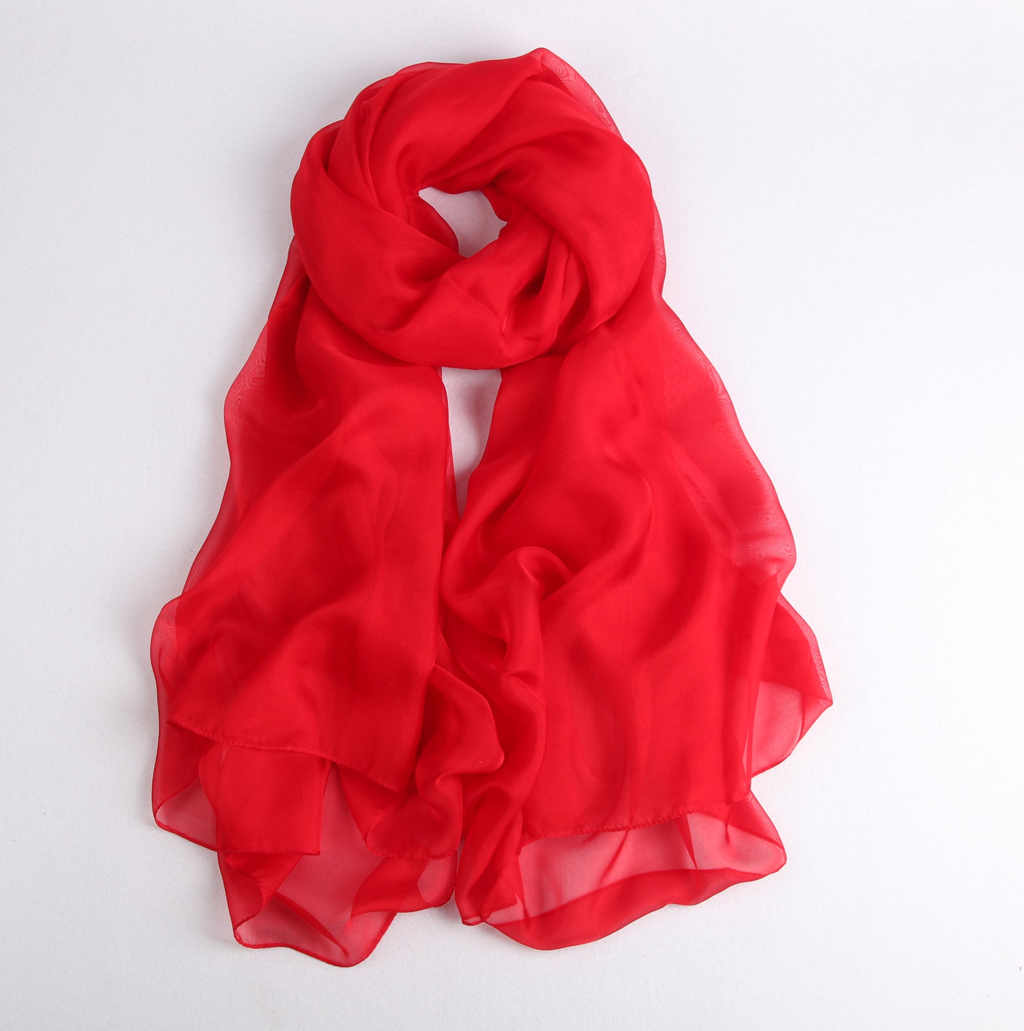 Large Silk Scarf Red - Vshine Silk and Shine Fashion Accessories