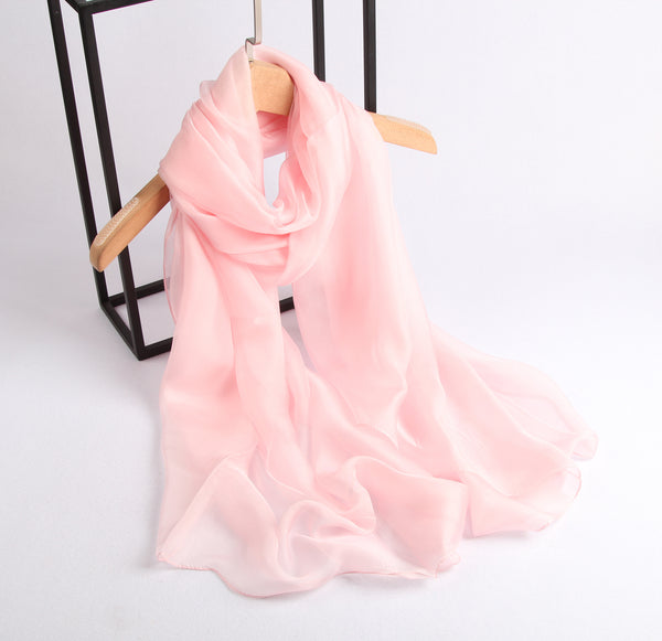 Large Silk Scarf Pink - Vshine Silk and Shine Fashion Accessories