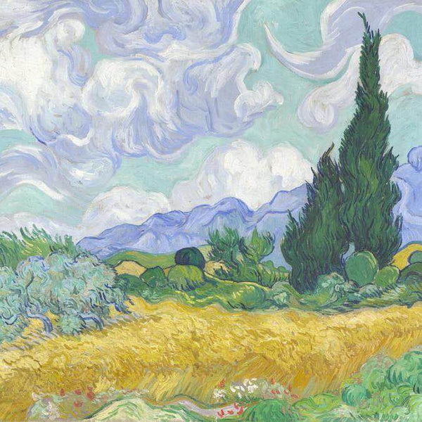 Oil Paint A Wheatfield with Cypresses - Vshine Silk and Shine Fashion Accessories