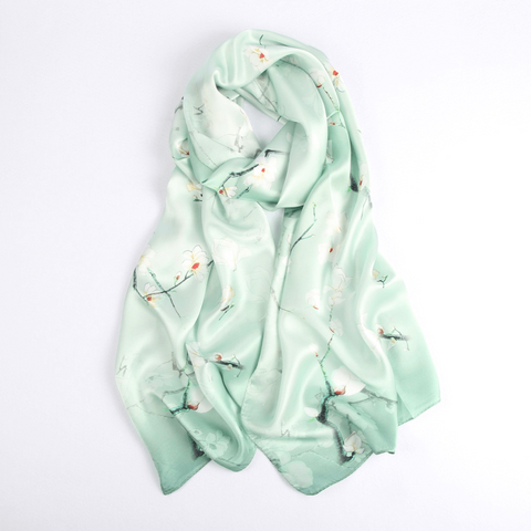 Vshine Silk and Shine Fashion Accessories|Silk Scarf Collections|Blossom Range| Magnolia Design|Green|Long Silk Scarf