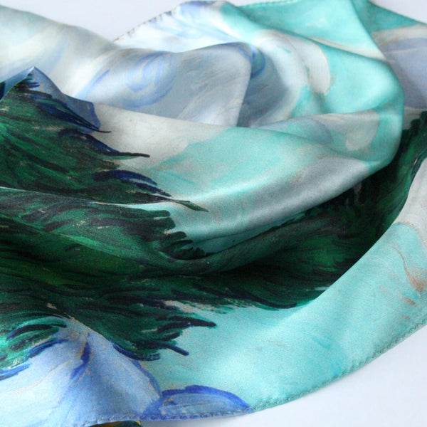Oil Paint Silk Scarf| A Wheatfield with Cypresses