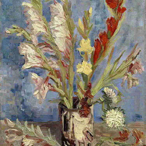 Oil Paint Silk Scarf| Vase with gladioli and China Asters