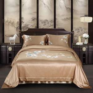 Luxury Silk and Shine Bedding Set Pure Lux Floral Beige