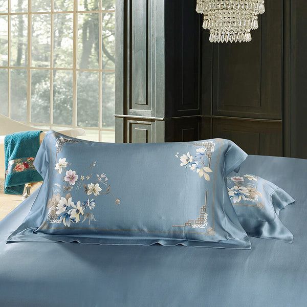 Luxury Silk and Shine Bedding Set Pure Lux Floral Duckegg