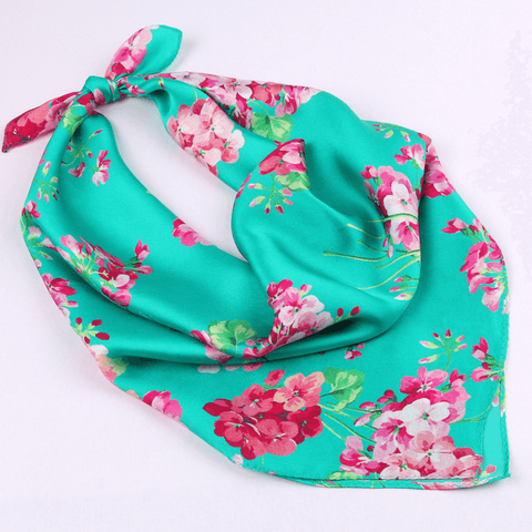 Small Square Silk Scarf|Versatile|Blossom Green - Vshine Silk and Shine Fashion Accessories