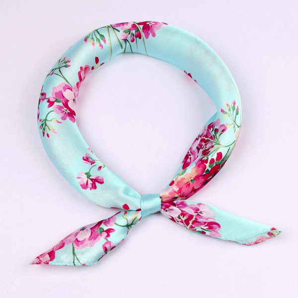 Small Square Silk Scarf|Versatile|Blossom Blue - Vshine Silk and Shine Fashion Accessories
