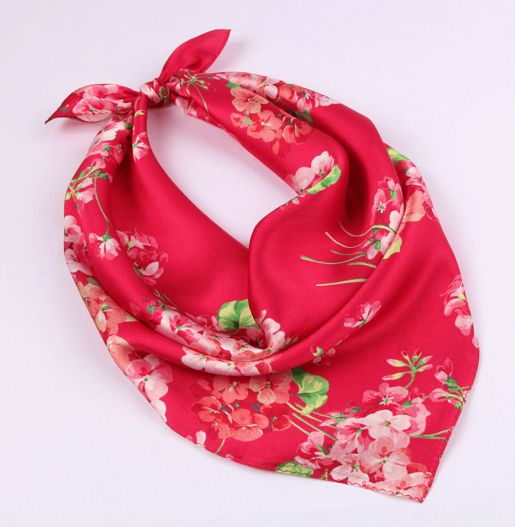Small Square Silk Scarf|Versatile|Blossom Red - Vshine Silk and Shine Fashion Accessories