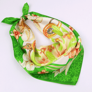 Small Square Silk Scarf|Versatile|Lily Green - Vshine Silk and Shine Fashion Accessories