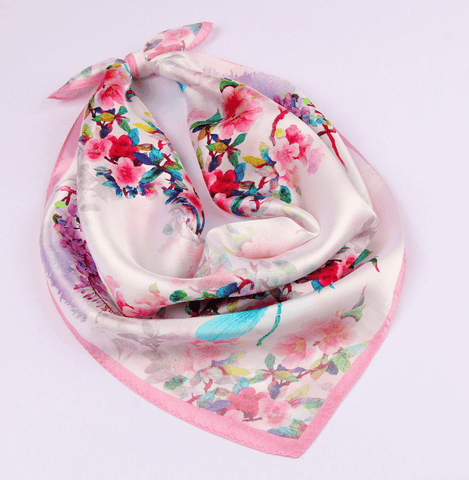 Small Square Silk Scarf|Versatile|Pink Delight - Vshine Silk and Shine Fashion Accessories