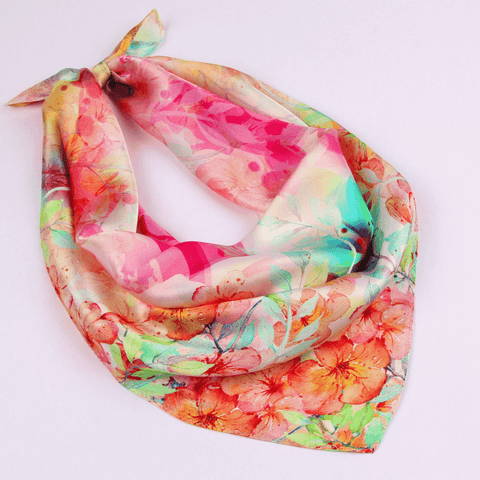 Small Silk Square Scarf|Versatile|Red Pastel - Vshine Silk and Shine Fashion Accessories