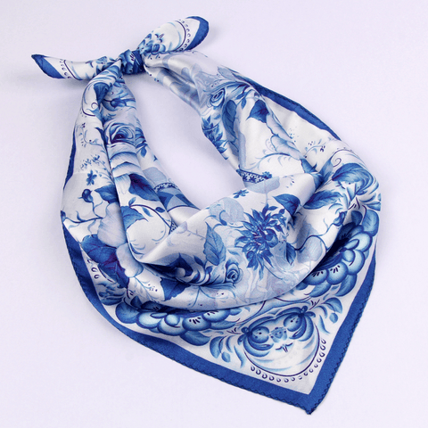Small Square Silk Scarf|Versatile|Rose blue - Vshine Silk and Shine Fashion Accessories