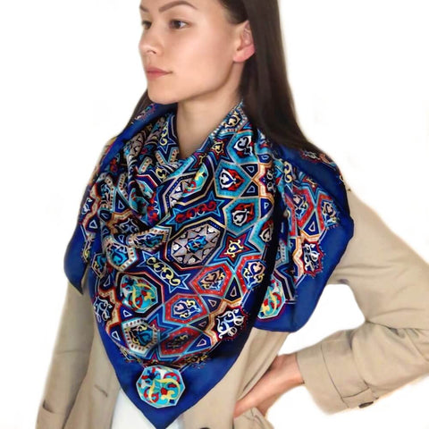 Extra Large Square Silk Scarf Silk Blue Diamond