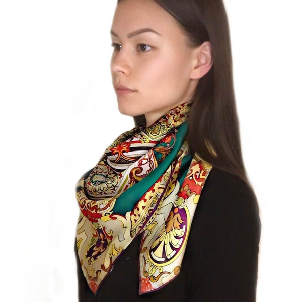 Vshine Silk and Shine Large Square Silk Scarf 14 Momme Silk Twil Gold