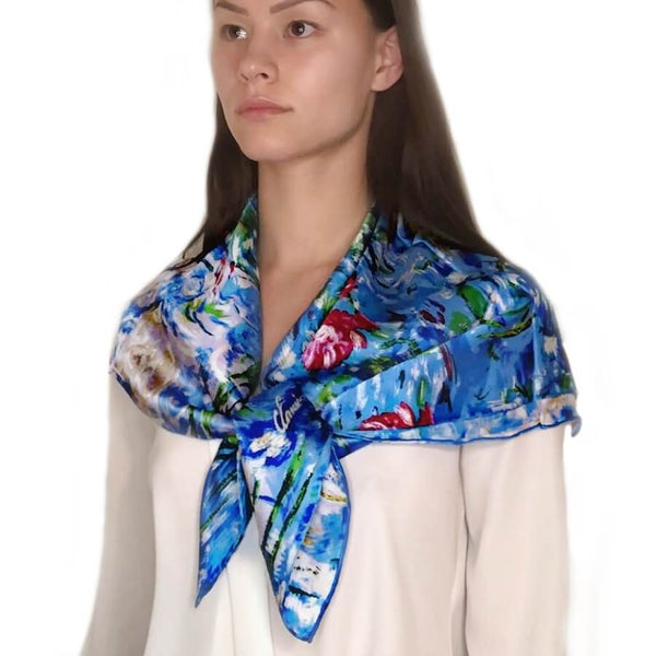 Oil Paint Silk Scarf| Oil Paint Water Lily