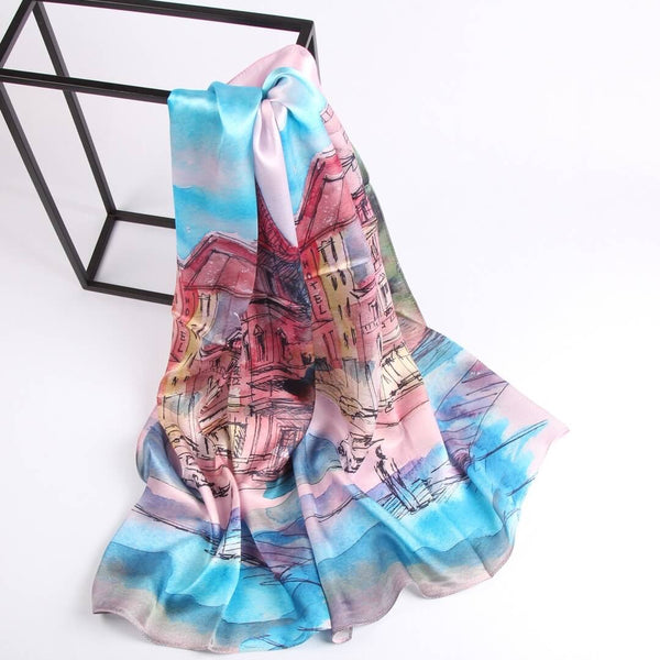 Vshine Silk and Shine Fashion Accessories|Silk Scarf Collections|Blossom Range|oil Painting Design|Blue|Long Silk Scarf