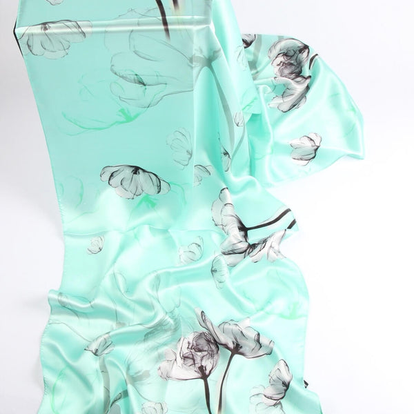 Vshine Silk and Shine Fashion Accessories|Silk Scarf Collections|Blossom Range|Mint Green