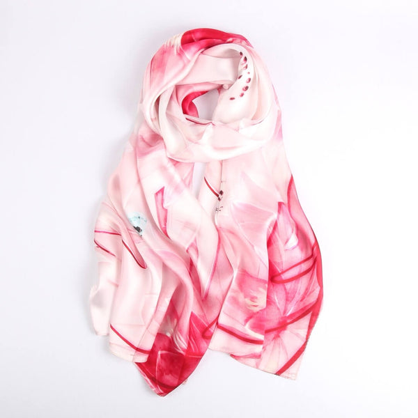 Silk Scarf Collecitons|Blossom Range|Subtle Pastel|Red|Long Silk Scarf