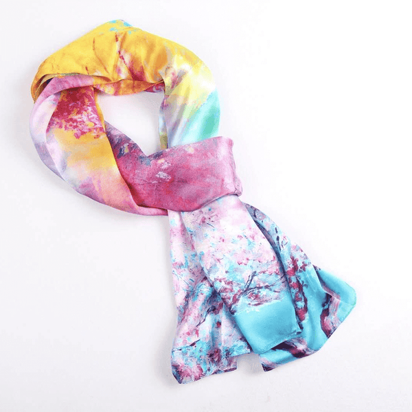 Vshine Silk and Shine Fashion Accessories|Silk Scarf Collections|Blossom Range|Rainbow Design|Long Silk Scarf