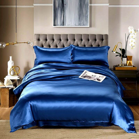 Luxury Silk and Shine Bedding Set Pure Lux Neutral Tone Dark Blue