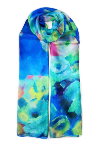 Large Silk Scarf Bloom Blue - Vshine Silk and Shine Fashion Accessories