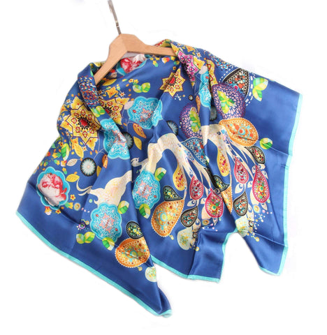 Vshine Silk and Shine Limited Edition Extra Large Silk Scarf Blue