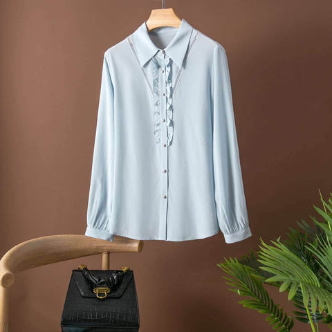 Pure Silk Long Sleeve Shirt with detail Pale Blue