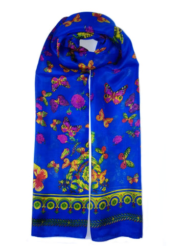 Rainbow| Large Silk Scarf Butterfly Blue - Vshine Silk and Shine Fashion Accessories