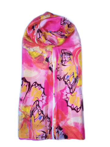 Large Silk Scarf Butterfly Pink - Vshine Silk and Shine Fashion Accessories