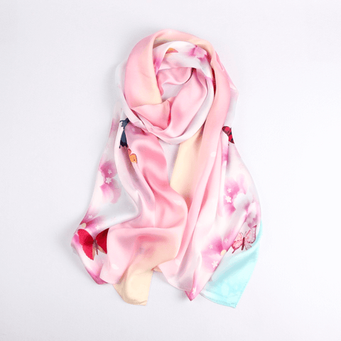 Vshine Silk and Shine Fashion Accessories|Silk Scarf Collections|Blossom Range|Joy Design|Pink|Long Silk Scarf