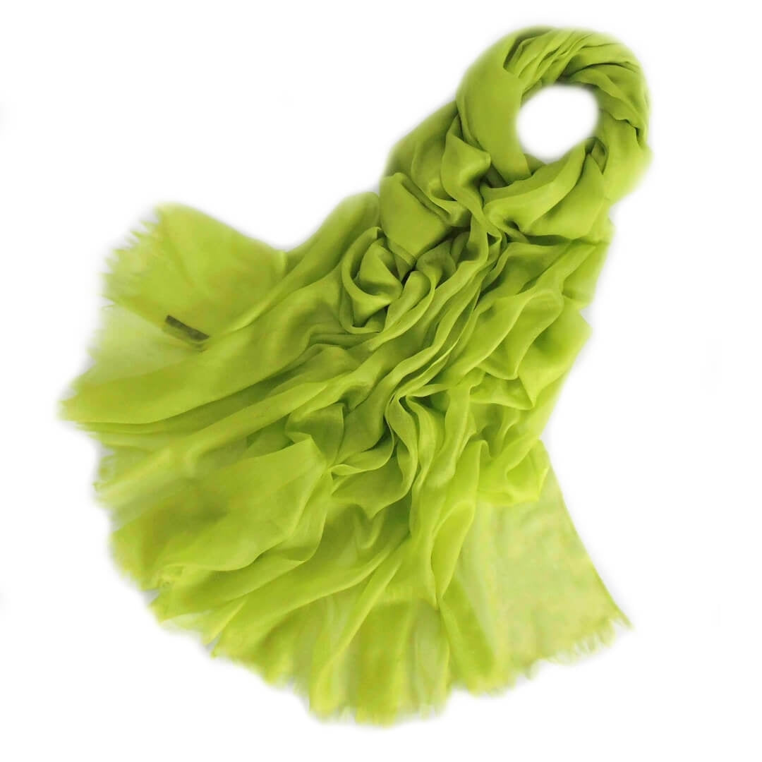 Vshine Silk and Shine Extra Large Finest Cashmere Shawl Bright Lime