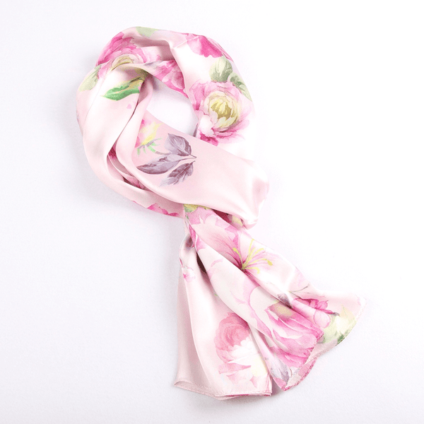 Vshine Silk and Shine Fashion Accessories|Silk Scarf Collections|Blossom Range|China Rose Design|Pink|Long Silk Scarf