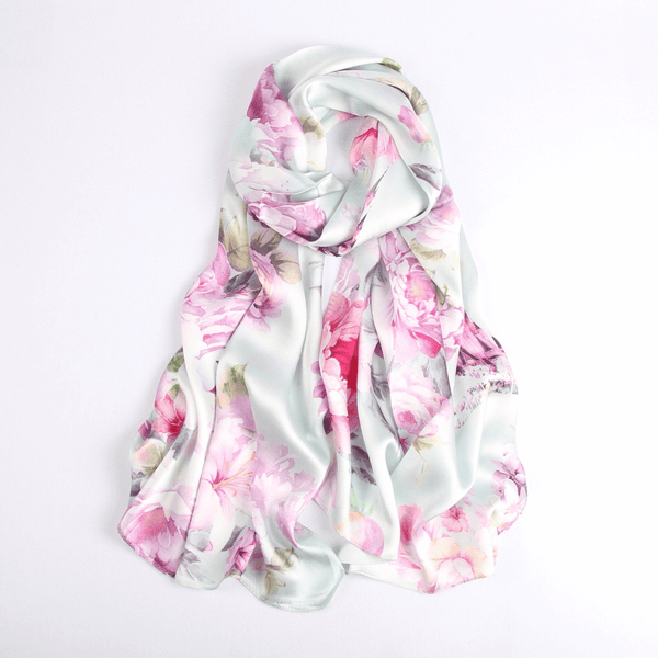 Vshine Silk and Shine Fashion Accessories|Silk Scarf Collections|Blossom Range|China Rose|Silver|Long Silk Scarf