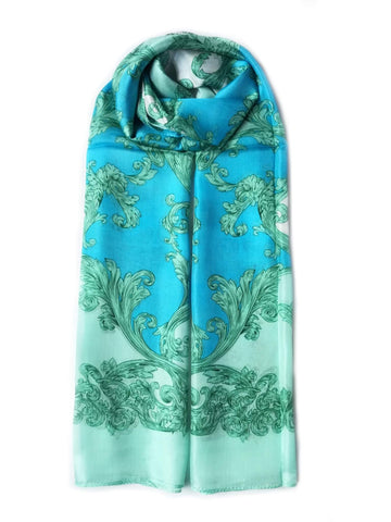 Large Silk Scarf Porcelain Green - Vshine Silk and Shine Fashion Accessories