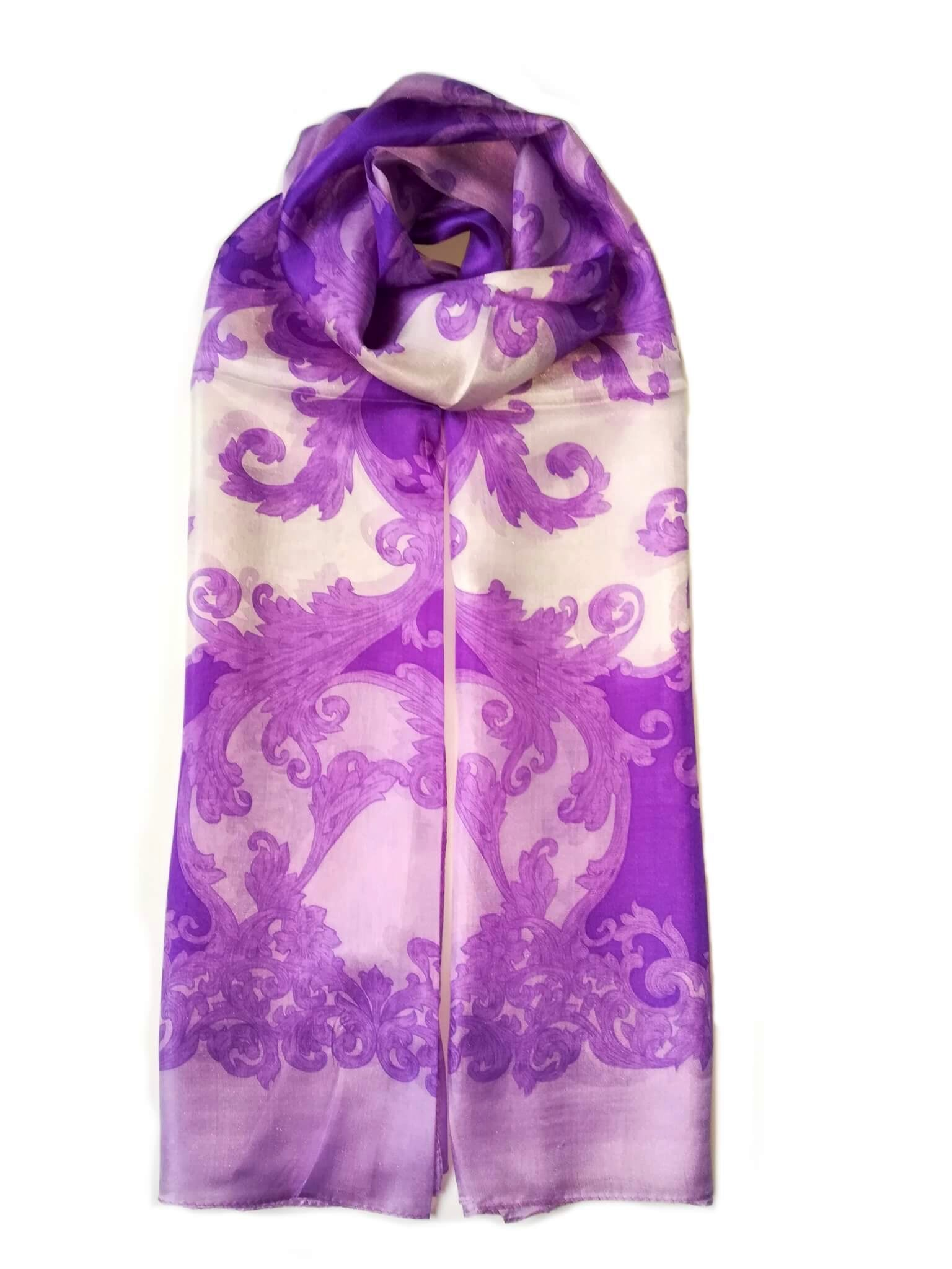Large Silk Scarf Porcelain Lilac - Vshine Silk and Shine Fashion Accessories