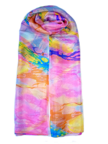 Large Silk Scarf Pink Delight - Vshine Silk and Shine Fashion Accessories