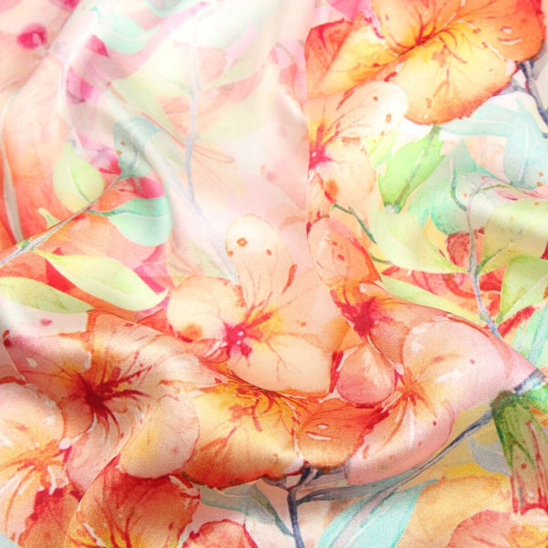 Silk Scarf Collections|Blossom Range|Orange Pastel|Long Silk Scarf