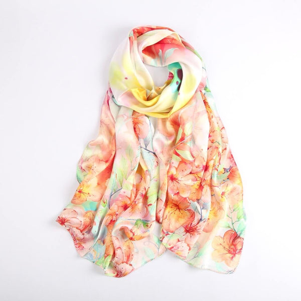 Vshine Silk and Shine|Silk Scarf Collections|Blossom Range|Orange Pastel|Long Silk Scarf