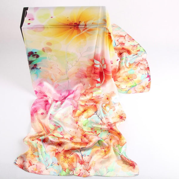 Vshine Silk and Shine Fashion Accessories|Silk Scarf Collections|Blossom Range|Orange Pastel|Long Silk Scarf