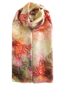 Rainbow|Large Silk Scarf Coral Red