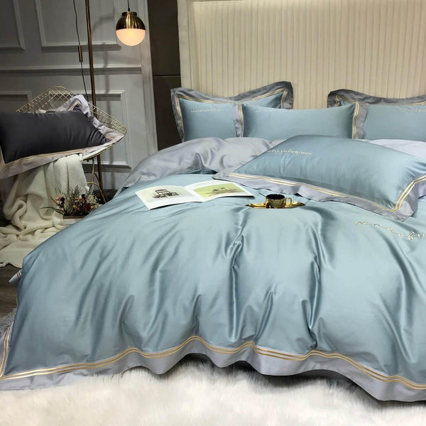 100% Silky Cotton Sateen Bedding in Light Blue and Neutral Grey