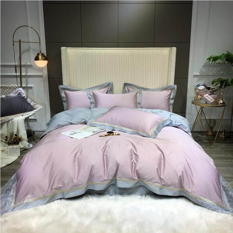 100% Silky Cotton Sateen Bedding in Subtle Lilac and Neutral Grey