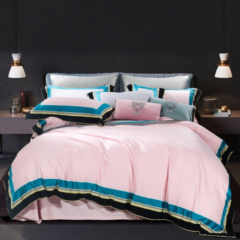 100% Cotton Sateen Bedding Set Jungle Romance Pink