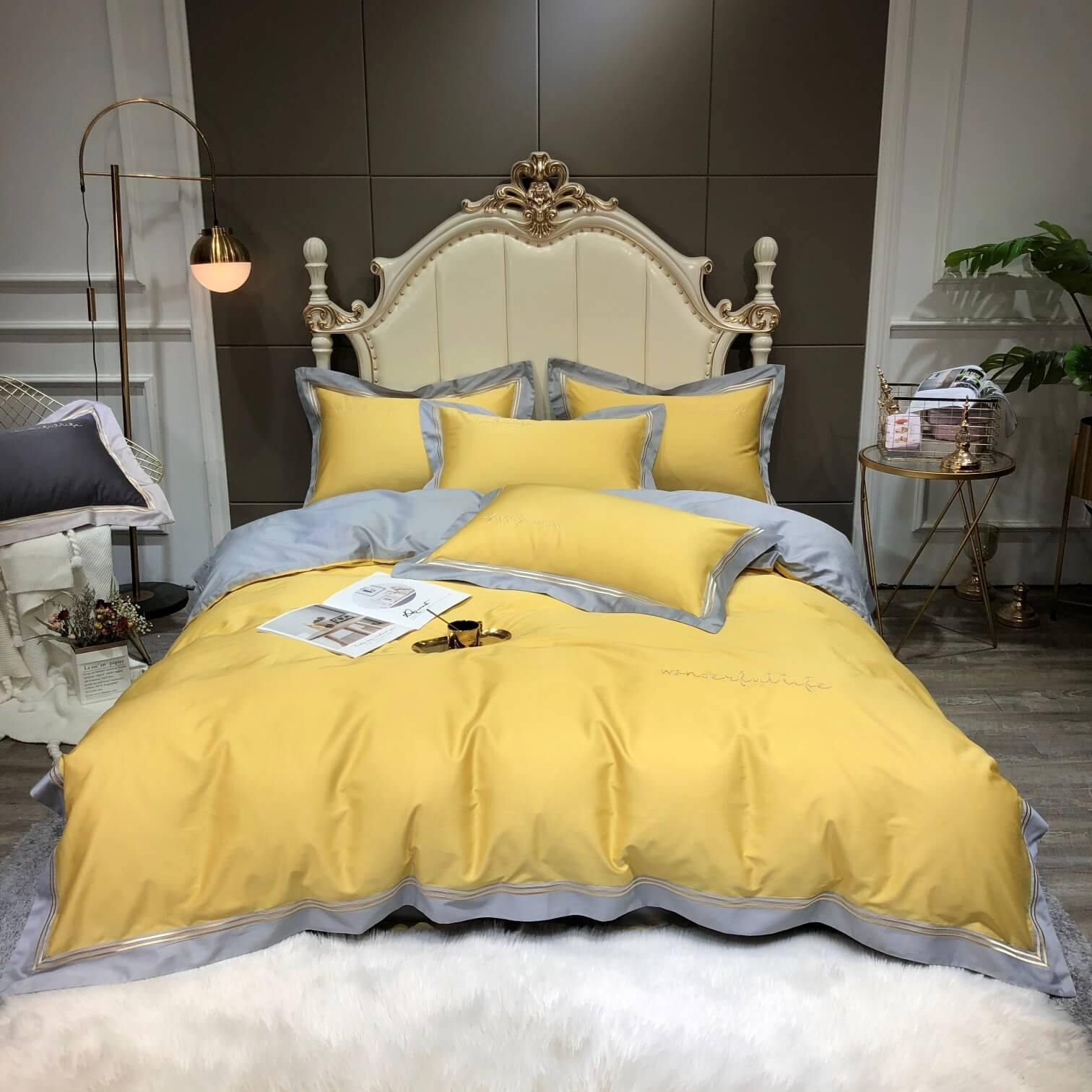 100% Silky Cotton Sateen Bedding in Bright Yellow and Neutral Grey