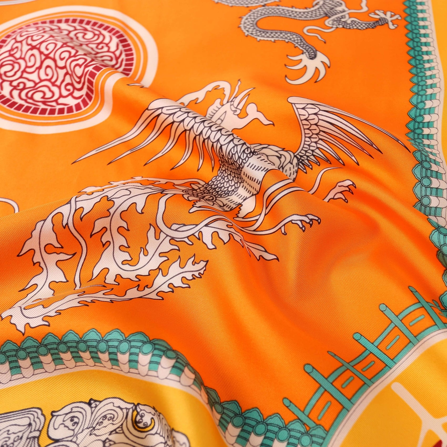 Vshine Silk and Shine Large Square Silk Scarf Golden Dragon Orange