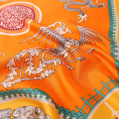 Large Square Silk Scarf Dragon Myth Orange