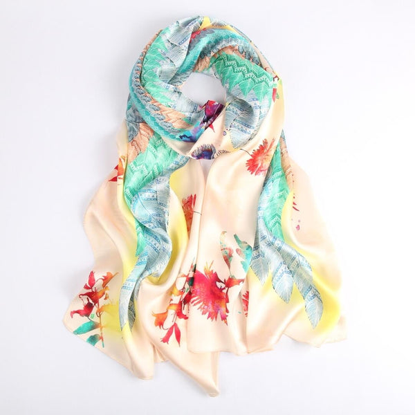 Vshine Silk and Shine Fashion Accessories|Silk Scarf Collections|Blossom Range|Feather Design|Golden|Long Silk Scarf