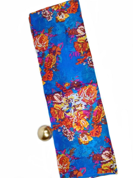 Large Silk Scarf Flora Mix Blue - Vshine Silk and Shine Fashion Accessories