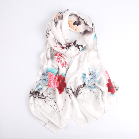 Vshine Silk and Shine Fashion Accessories|Vshine Silk and Shine Fashion Accessories|Silk Scarf Collections|Blossom Range|Floral Mix|White|Long Silk Scarf