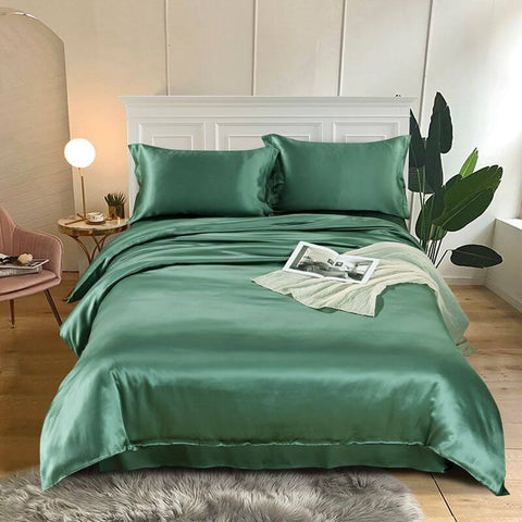 Luxury Silk and Shine Bedding Set Pure Lux Neutral Tone Lush Green